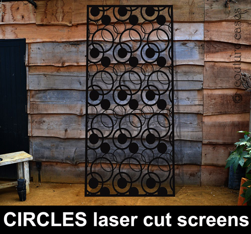 CIRCLES laser cut metal panels and screens in garden by Couture Cases