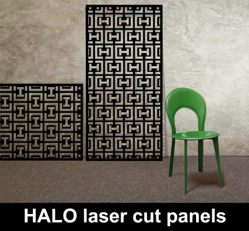 HALO laser cut metal panels in black with green chair