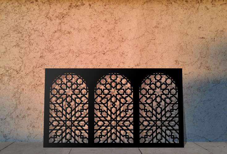 moroccan minaret laser cut screens and fretwork panels