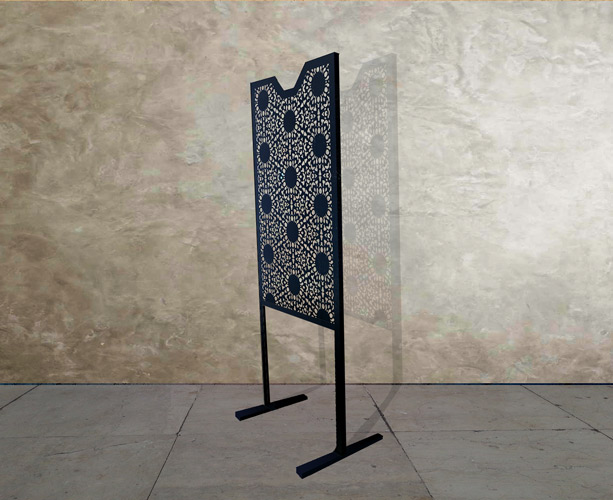 single midi black laser cut metal screen