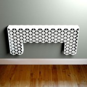 Cutaway metal Console table in white triangle pattern by Lace Furniture